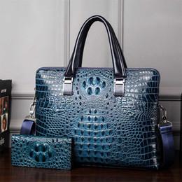 Wholesale Leather Messenger Bag Pattern - mans Crocodile pattern briefcase PVC Leather Messenger bag Famous Brand Fashion Laptop Bags for 14 inch handbag