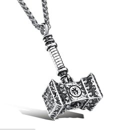 """Wholesale Wholesale Hammered Crosses - Men Stainless Steel Hammer Punk Hip Hop Pendant Necklace 24"""" Wheat Link Chain"""