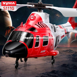 Wholesale Toys Shatterproof - High Quality SYMA S111G Attack Marines RC Helicopter With Led Light 3CH Easy Control Aircraft Shatterproof Toys Gift Children