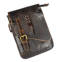Wholesale Leather Ipad Messenger - Wholesale-Crocodile Style new genuine leather bags for men small messenger bags ipad mini crossbody shoulder bag handbag male cowhide
