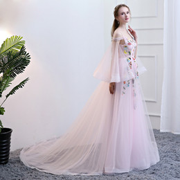 Wholesale Photography Training - SSYFashion 2017 High-end Beautiful Fairy Long Trailing Evening Dress Photography Sweet Pink Lace Flower Prom Party Formal Dresses