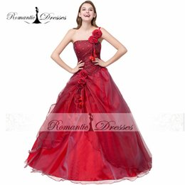 Wholesale Lace Flower Girl Dresses China - Ball Gown Prom Dresses One Shoulder Quinceanera Dresses Organza Sweet 16 Girls Prom Party Dresses Cheap China Dresses 2017 m6