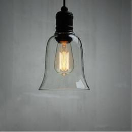 Wholesale Diy Crystal Knobs - Modern Crystal Bell Glass Shade Pendant Light Retro Industrial DIY Ceiling Lamp Pendant Lamp with Edison Bulb E27 Bar Dining room Loft Lamps