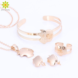 Wholesale Kids Silver Jewelry Sets - Baby Girls Jewelry Sets Children Gifts Gold Plated Kids Jewelry Set Pendant Necklace Earrings Bangle Ring