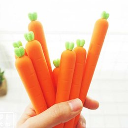 Wholesale Fresh Child - 10pcs lot Novelty Fresh Carrot Shape Gel Ink Pen Promotional Gift Stationery School Office Supply Birthday Gift for Kid Children