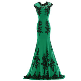 Wholesale Gowns For Emerald Green - Emerald Green Chiffon Mermaid Evening Dresses 2017 with Black Appliques Elegant Party Long Sexy Red Carpet Formal Prom Gowns For Women Wear