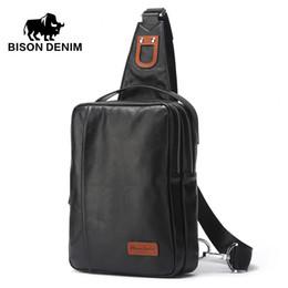 Wholesale Mini Sling Bags - Wholesale- BISON DENIM High Quality Brand genuine leather Backpacks men's cross body bag black soft cowhide casual chest sling bag