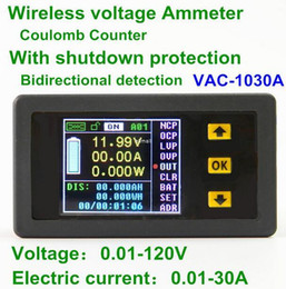 Wholesale digital dc voltmeter ammeter - Freeshipping VAC-1030A Digital Ammeter Voltmeter Coulomb Counter Wireless Bi-directional Voltage Current Tester Power Meter DC 0.01-120V