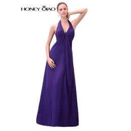 Wholesale Purple Chiffon Prom Dresses - Honey Qiao Prom Dresses 2017 Halter Chiffon Purple Empire Elegant Corset Simple Backless Zipper Party Gowns Robe De Soiree