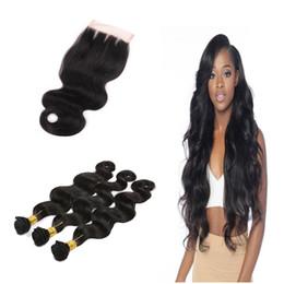 Argentina Brazilian Body Wave Virgen Remy cabello humano 3 paquetes de 300g con cierre de encaje Extensiones de cabello humano 4