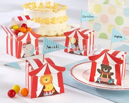 Wholesale Thanks For Birthday Gifts - Wholesale- 30 pcs Animal Candy Boxes for Carnie Circus Themed Children's Day Birthday Party Kids thanks gift boxes