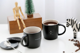 Wholesale ceramic coffee mugs spoons - Classic Starbucks Reserve matte black Mug 16oz Simple style 40 anniversary Memorial edition R letter ceramic coffee cup with lid spoon