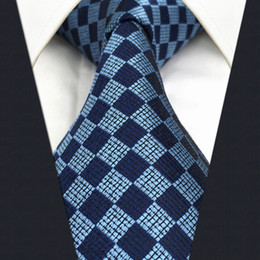 Wholesale Navy Knots - C22 Navy Light Blue Checkes Mens Necktie Tie Wedding Fashion Dress Accessory Silk extra long size Neckties for Men