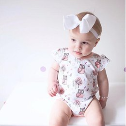 Wholesale Baby Girl Clothes Owls - Baby Romper summer toddler kids cute owl printed fly sleeve romper + big BOWS 2pcs sets 2017 fashion jumpsuit INS babies clothing T1923