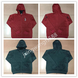 Wholesale Cap Shirt Men - TOP quality 2017 2018 AC milan jackets add cap tracksuit soccer shirts 17 18 POGBA LUKAKU MARTIAL MATA tracksuit jacket Sweatshirt