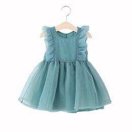 Wholesale Organza Dot Ribbon - 2017 Korean Summer princess skirt flower girls dresses waist knot organza cotton short sleeve girls boutique clothing party dresses