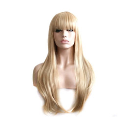 Wholesale Blond Bangs Wig - party ladies wigs blond wig straight hair heat resistant long blonde wig with bangs synthetic wigs for women