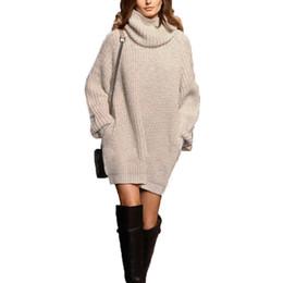 Wholesale Trendy Long Sweaters - Wholesale- European Knitted Pullovers 2017 New Winter Women Turteleneck Trendy Sweaters Long Sleeve Loose Solid Casual Knitwear Plus Size