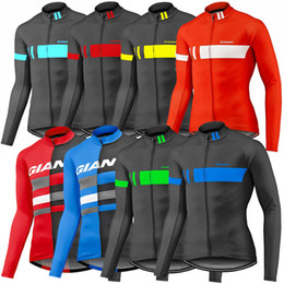 Wholesale Thermal Jersey Fleece - 2017 Giant Long Sleeves Cycling Jerseys Autumn Winter Thermal Fleece Cycling Tops Quick Dry Compressed MTB Ropa Millot Size XS-4XL 9 Colors