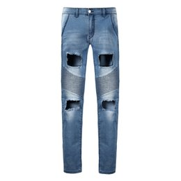 Wholesale Urban Motorcycles - Wholesale- 2017 New Men Hole Skinny Jeans Ripped Distressed Destroyed Fashion Hip Hop Urban Motorcycle Pencil Biker Denim Jeans vT0280
