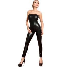 Wholesale Pole Dance Costumes - Women's Strapless Catsuit Sexy Skinny Jumpsuit Clubwear Black Wet Look Slim Bodysuit Nightclub Pole Dance Clothing