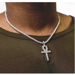 Wholesale Alloy Rhinestone Crystal Necklace - Mens Bling Iced Out Egyptian Ankh Key Pendant Necklace Gold Plated Hip Hop Black Crystal Cuban Link Chain Men Jewelry Necklaces & Pendants