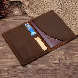 Wholesale Leather Document Bags - Leather clip folder retro wallet passport bag passport sets of documents package
