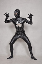 Wholesale Full Body Catsuit Black - The viscose black spiderman Lycra Spandex Zentai Suit Original full body Costumes