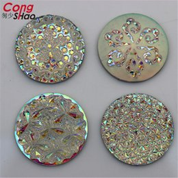 Wholesale 25mm Crystal Buttons - 50Pcs 25mm AB Clear Round Shape Resin Rhinestones Crystal Flatback Buttons Beads For Jewelry Crafts Decoration No hole ZZ562