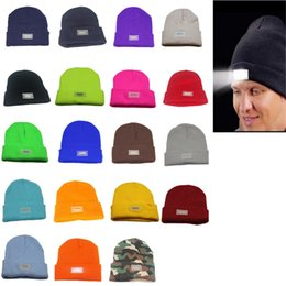 Wholesale Day Running Lights - 5 LED lights Beanies Hat Winter Hands Warm Angling Hunting Camping Running Caps 19 Colors Dhl Free
