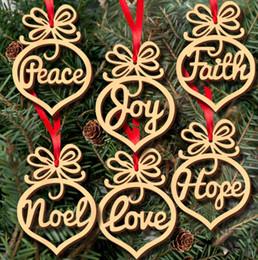 Wholesale Wooden Tree Decor - New Year Christmas Tree Decoration Wooden Hollow Letter Christmas Tree Hanging Props Holiday Party Navidad Home Decor 6pcs lot Free Shipping