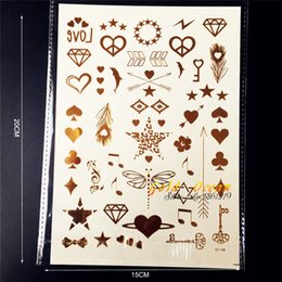 Wholesale Glitter Nail Bows - Wholesale- 1PC Glitter Gold Finger Tattoo Small Cute Star Heart GCT148G Bow Melody Lightning Tatoo Dragonfly Temporary Tattoo Nail Sticker