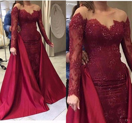 Wholesale Scoop Back Sequin Dress - Burgundy Mermaid Evening Dresses With overskirt (detachable train) Sheer Neck Sequins Long Sleeves Prom Dress Satin And Lace Party Gowns