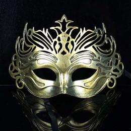 antichi costumi romani Sconti Antichi Gladiator Roman Crown Mens Maschera Mardi Gras Masquerade Halloween Costume veneziano Maschere d'oro Maschera d'oro