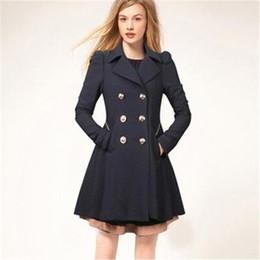 Deutschland Frauen Mäntel Winter Trenchcoat Fashion Solid Mantel Umlegekragen Schlank Oberbekleidung Knopf Schwarz Navy Beige Kleidung Versorgung