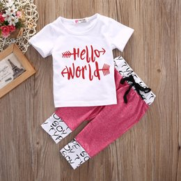Wholesale Boy High Neck Shirts - Hello World Letter Print Short Sleeves T-shirt + Pants Casual Sport High Quality Summer 2Pcs Suit For Baby Girl Boy 0-24M Preppy Factory
