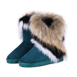 Wholesale Export Shoes - Wholesale-2016 new fashion winter snow boots large wool export imitation fox fur boots shoes boots tassel high cylinder women boot#WSZ3