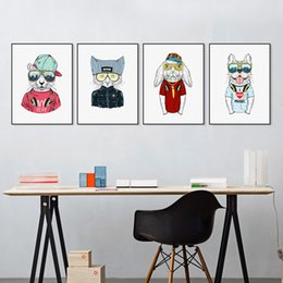 Wholesale big cat paintings - Modern Abstract Fashion Hippie Animals Cat Dog Rabbit Canvas A4 Big Art Print Poster Wall Picture Home Decor Painting No Frame