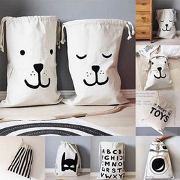 Wholesale Storage Laundry Washing Bag - INS Baby Laundry Bag Kids Room Storage Bags for Toys Washing Bucket Household Canvas Pouch Cartoon Kids Drawstring Bag 100pcs OOA2469