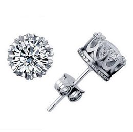 Wholesale Diamonds 1ct - 1CT Austrian Crystal 925 sterling Silver plating 30% White GOLD Crown Wedding Stud Earring Swarovski Elements Engagement Jewelry 20 Pairs