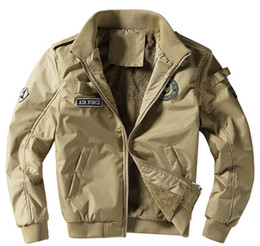 Wholesale Air Force High White - 2017 Autumn Air Force 1 Flight Jackets Men Casual Cotton jackets High quality Army Green military jackets mens Bomber coat 4XL
