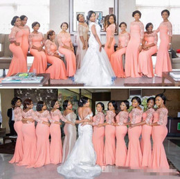 red light blue nigerian bridesmaid dresses Promo Codes - Nigerian African Plus Size Bridesmaid Dresses 2019 Coral Half Long Sleeves Top Lace Sweep Train Maid Of Honor Evening Occasion Gowns Cheap