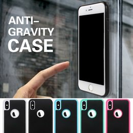 Wholesale Sticky For Iphone - Anti Gravity Selfie Magical Nano Sticky Anti-fall Adsorption Hybrid PC TPU Cover Case For iPhone X 8 7 Plus 6 6S Samsung S8 S7 edge Note 8