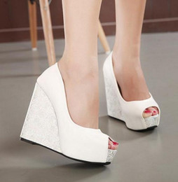 Wholesale White Strappy High Heels - Sexy Cross Strappy Blue White Wedding Shoes Platform Wedge Sandals Peep Toe Bridesmaid Shoes Size 34 to 39