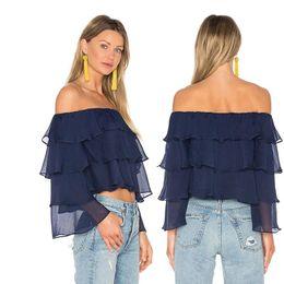 Wholesale multi layer t shirt - Women Shirts 2017 New Summer T-Shirt Slash Neck Multi-Layer Stitching Long-Sleeved Chiffon Fashion Vacation Ruffle Shirt For Women