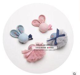 Wholesale Ball Bang - Rabbit gauze ball hair clips set hairpins children of the baby hair clips gauze hairclips bb clip bang clip