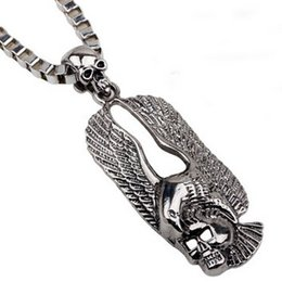 Wholesale Eagle Collar Necklace - Box shape Chain Masculine Eagle Skull SWEATER NECKLACE!Punk Unisex Necklaces jewelry collar ornaments RAP Concert Party festival jewelry