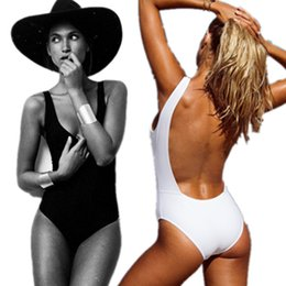 Wholesale Jumpsuits Two Colors - 2016 New Summer Hot Sale Backless Black White Cotton Skinny Two Colors Swimsuits Women Jumpsuits & Rompers