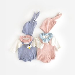Wholesale Suspenders Hat - 2017 New Baby Girls Romper Kids Cute Suspender Jumpsuits with Bunny Hat Fashion Infant Toddler Clothing