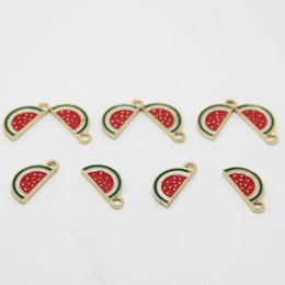 Wholesale Clips For Necklace Charms - Free Shipping 10pcs lot Gold Plated Enamel Fruit Watermelon Slice Clip on Single Charm Pendant For DIY Necklace Bracelet 8*17mm AP6010